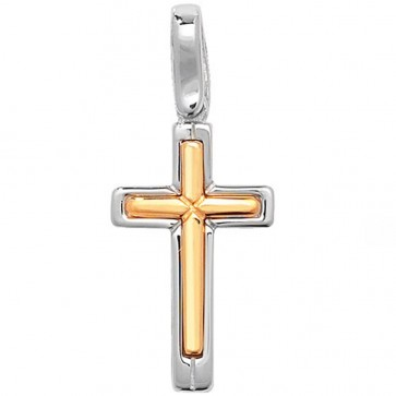 Men's Sterling Silver Two Tone Cross Pendant On A Black Leather Cord Necklace