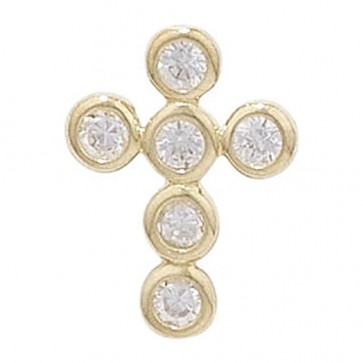 Children's 9ct Gold 6 Stone Cubic Zirconia Cross Pendant On A Prince of Wales Necklace