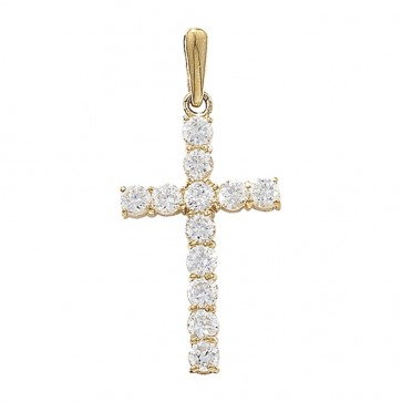 Men's 9ct Gold 12 Stones Claw Set Cubic Zirconia Cross Pendant On A Curb Necklace