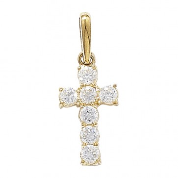 9ct Gold 7 Stone Cubic Zirconia Cross Pendant On A Belcher Necklace