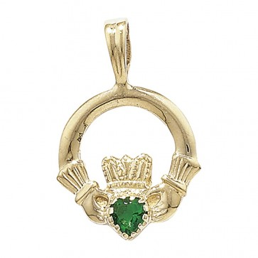 9ct Gold Green Agate Set Claddagh Pendant On A Belcher Necklace
