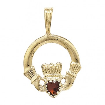 9ct Gold Garnet Set Claddagh Pendant On A Belcher Necklace