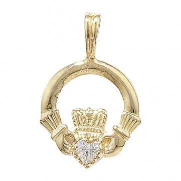 Children's 9ct Gold Cubic Zirconia Set Claddagh Pendant On A Prince of Wales Necklace
