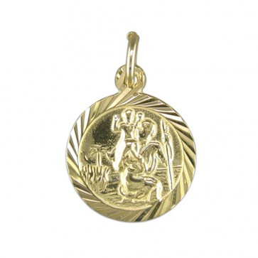Children's 9ct Gold Round Diamond Cut St Christopher Pendant On A Prince of Wales Necklace