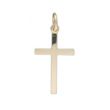Men's 9ct Gold Plain Cross Pendant On A Curb Necklace