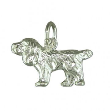 Sterling Silver Spaniel Pendant On A Snake Necklace