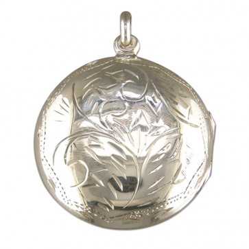Sterling Silver Medium Round Engraved Locket On A Snake Necklace