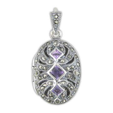 Children's Sterling Silver Amethyst & Marcasite Fancy Oval Locket On A Curb Necklace
