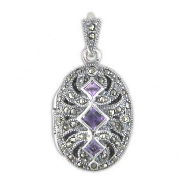 Sterling Silver Amethyst & Marcasite Fancy Oval Locket On A Snake Necklace