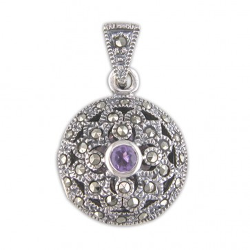 Children's Sterling Silver Amethyst & Marcasite Fancy Round Locket On A Curb Necklace