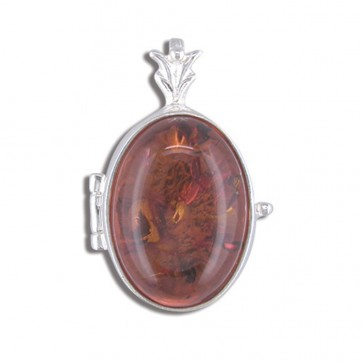 Children's Sterling Silver Amber Oval Locket On A Curb Necklace
