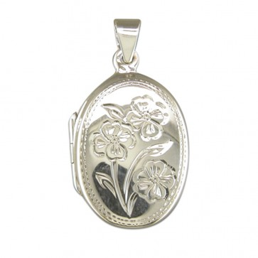 Children's Sterling Silver Flower Pattern Oval Locket On A Curb Necklace