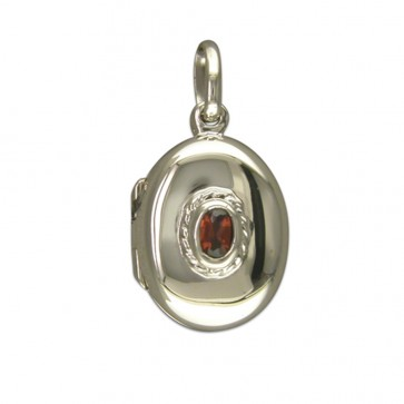 Children's Sterling Silver Small Plain Oval With Garnet Locket On A Curb Necklace
