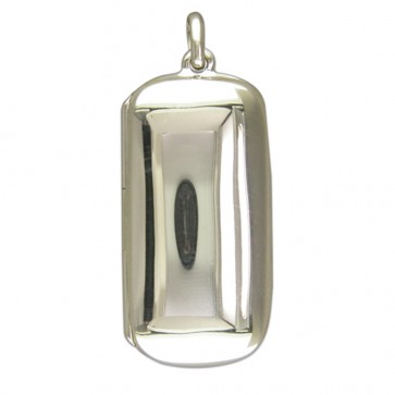 Sterling Silver Plain Lozenge Locket On A Snake Necklace