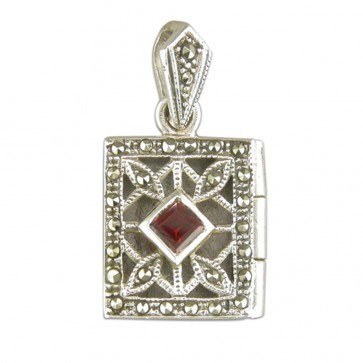 Sterling Silver Garnet & Marcasite Oblong Book Locket On A Snake Necklace