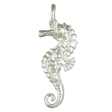 Men's Sterling Silver Seahorse Pendant On A Black Leather Cord Necklace
