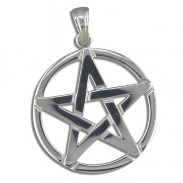 Sterling Silver Pentagram Pendant On A Snake Necklace