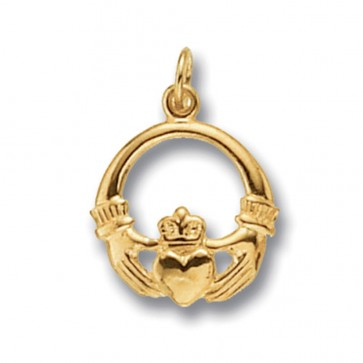 Men's Gold Claddagh Pendant On A Curb Necklace