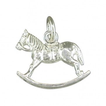 Sterling Silver Rocking Horse Pendant On A Snake Necklace