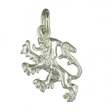 Men's Sterling Silver Scottish Lion Rampant Pendant On A Black Leather Cord Necklace