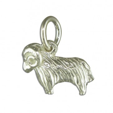 Children's Sterling Silver Zodiac Sign Aries Pendant On A Curb Necklace