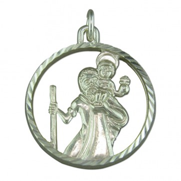 Sterling Silver Round Cut out St Christopher Pendant On A Snake Necklace