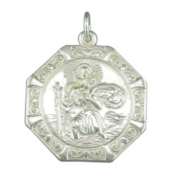 Men's Sterling Silver Medium Octagonal St Christopher Pendant On A Black Leather Cord Necklace