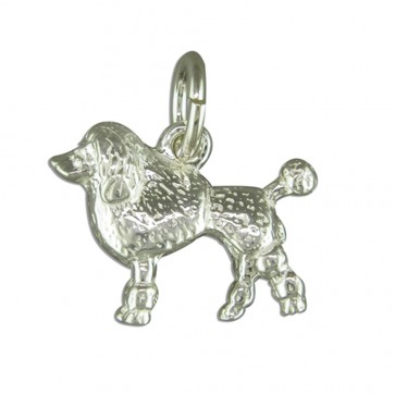 Men's Sterling Silver Poodle Pendant On A Black Leather Cord Necklace