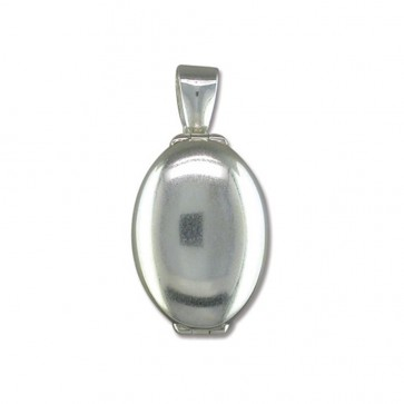 Children's Sterling Silver Plain 4 Way Oval Locket On A Curb Necklace