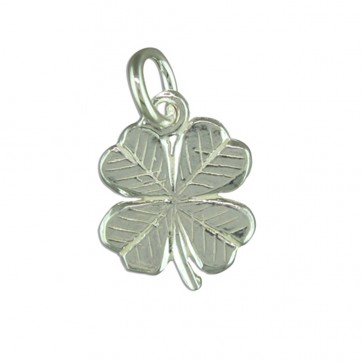 Sterling Silver Four Leaf Clover Pendant On A Snake Necklace