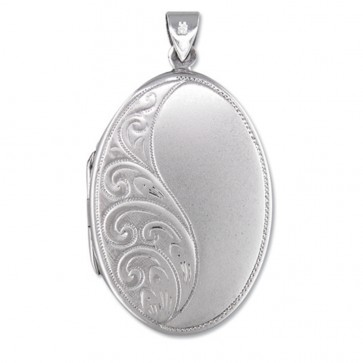 Men's Sterling Silver Half Embossed Oval Locket On A Black Leather Cord Necklace
