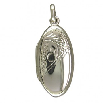 Children's Sterling Silver Half Engraved Long Oval Locket On A Curb Necklace