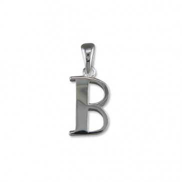 Sterling Silver Initial B Pendant On A Snake Necklace