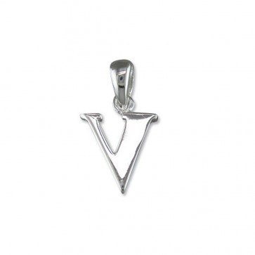 Sterling Silver Initial V Pendant On A Snake Necklace