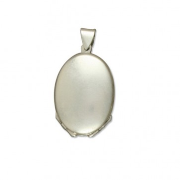 Sterling Silver Four Way Plain Oval Locket On A Snake Necklace
