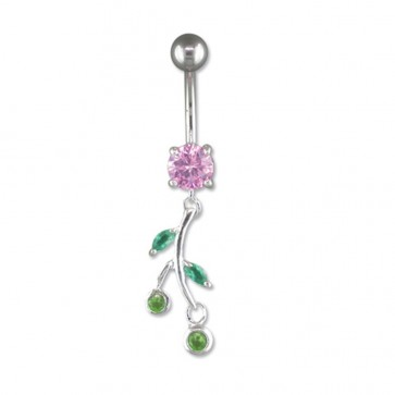 Sterling Silver Pink Flower Belly Bar