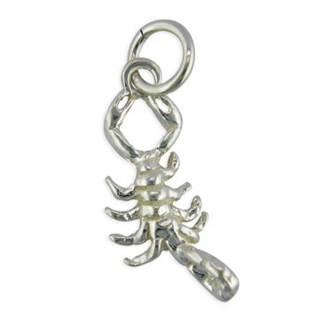 Sterling Silver Zodiac Sign Scorpio Pendant On A Snake Necklace