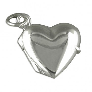 Men's Sterling Silver Small Plain Heart Locket On A Black Leather Cord Necklace