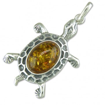 Men's Sterling Silver Amber Tortoise Pendant On A Black Leather Cord Necklace