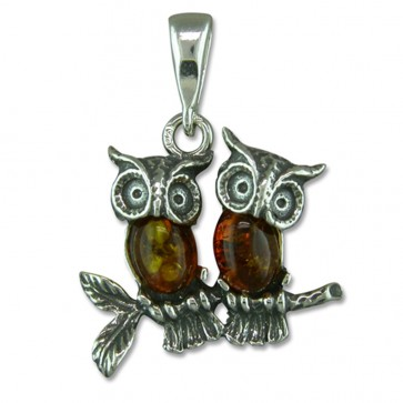 Sterling Silver and Amber Owl Pendant On A Snake Necklace