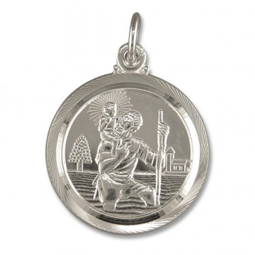 Children's Sterling Silver Medium Double Sided St Christopher Pendant On A Curb Necklace