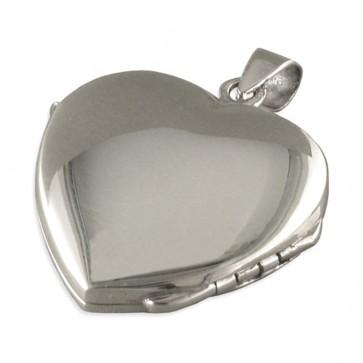 Sterling Silver Plain Heart Locket On A Snake Necklace