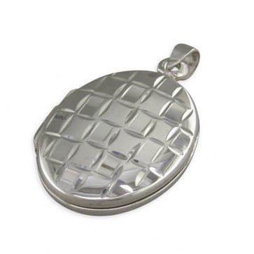Men's Sterling Silver Plain Oval With Diamond Cut Squares Locket On A Black Leather Cord Necklace