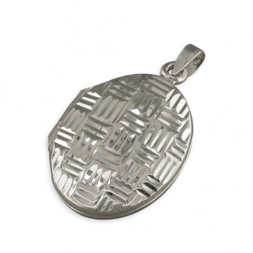 Sterling Silver Diamond Cut Cross-Hatched Oval Locket On A Snake Necklace