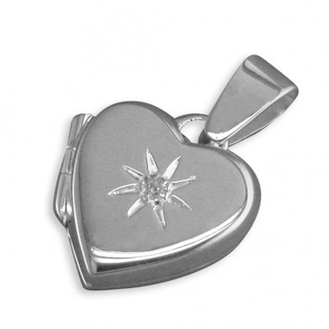 Men's Sterling Silver Cubic Zirconia In Starburst Plain Heart Locket On A Black Leather Cord Necklace