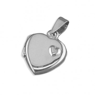 Children's Sterling Silver Heart With Small Raised Offset Heart Locket On A Curb Necklace