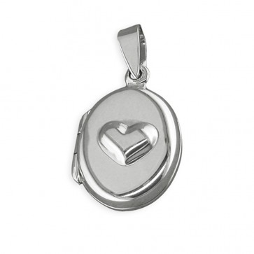 Men's Sterling Silver Raised Heart Oval Locket On A Black Leather Cord Necklace
