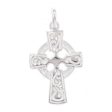 Children's Sterling Silver Celtic Cross Pendant On A Curb Necklace