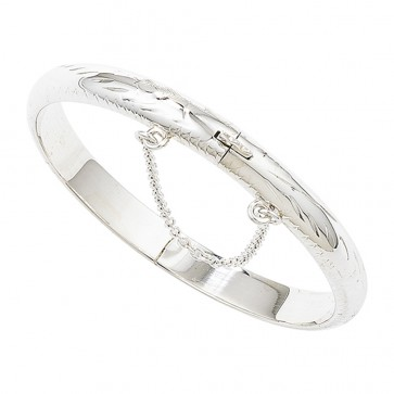 Childrens Sterling Silver Engraved Christening Bangle With Safety Chain