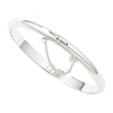Childrens Sterling Silver Christening Bangle With Safety Chain